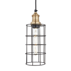 Simple Vintage Wire Pewter Cage Pendant Light - Cylinder