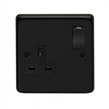 From the Anvil Single 13amp Switched Socket - Matt Black