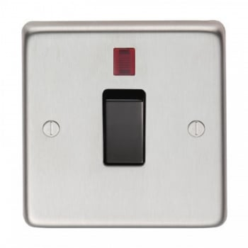 From the Anvil Single 20amp Switch With Neon - Satin Stainless Steel