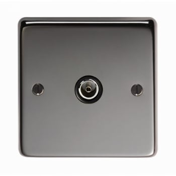From the Anvil Single TV Socket - Black Nickel