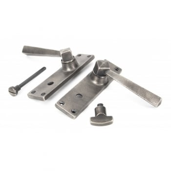 From the Anvil Straight Lever Lock, Latch and Bathroom Sets - Antique Pewter