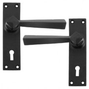 Straight Lever Lock, Latch and Bathroom Sets- Black