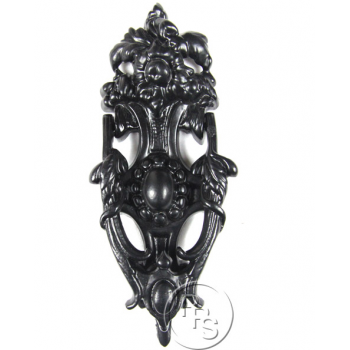 PPS Traditional Antique Victorian Style English Rose Cast Iron Door Knocker - Black
