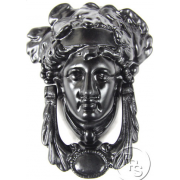 Traditional Antique Victorian Style Grecian Goddess Cast Iron Door Knocker - Black