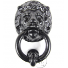 Traditional Antique Victorian Style Lion Head Cast Iron Door Knocker - Black