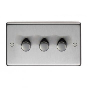 From the Anvil Triple 400W Dimmer Switch - Satin Stainless Steel