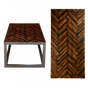 PPS Upcycled Reclaimed Dark Muhuhu Parquet Large Coffee Table - Herringbone