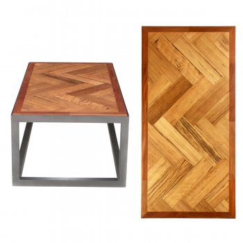 PPS Upcycled Reclaimed Greenheart Parquet Large Coffee Table - Herringbone With Border