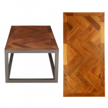 PPS Upcycled Reclaimed Hardwood Parquet Large Coffee Table - Herringbone With Border