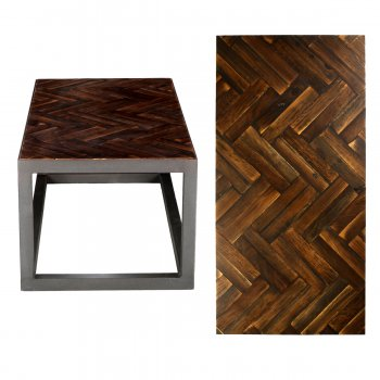 PPS Upcycled Reclaimed Muhuhu Parquet Small Coffee Table - Dark Finish Double Herringbone