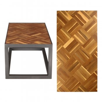 PPS Upcycled Reclaimed Muhuhu Parquet Small Coffee Table - Diagonal Basket Weave