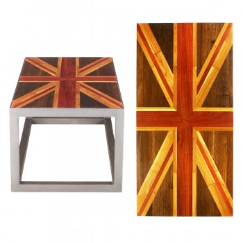 PPS Upcycled Reclaimed Muhuhu, Teak & Burnt Oak Parquet Small Coffee Table - Union Jack