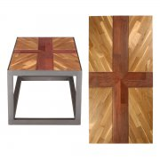 Upcycled Reclaimed Muhuhu & Teak Parquet Small Coffee Table - St George's Flag
