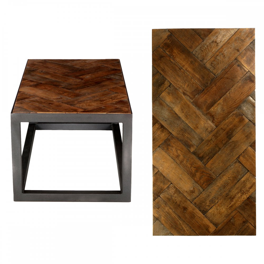 Pps Upcycled Reclaimed Oak Parquet Coffee Table Dark Waxed Double Herringbone Upcycled