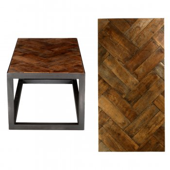 PPS Upcycled Reclaimed Oak Parquet Coffee Table - Dark Waxed Double Herringbone