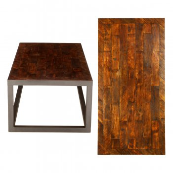 PPS Upcycled Reclaimed Oak Parquet Large Coffee Table - Brick Bond With Diagonal Border