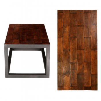 PPS Upcycled Reclaimed Oak Parquet Small Coffee Table - Brick Bond
