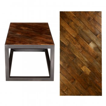 PPS Upcycled Reclaimed Oak Parquet Small Coffee Table - Diagonal Block