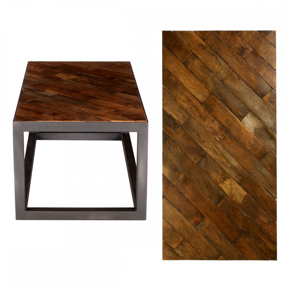 Pps upcycled reclaimed oak parquet small coffee table for Small block coffee table