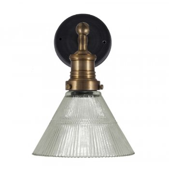 Industville Vintage Antique Style Ribbed Glass Retro Funnel Wall Sconce