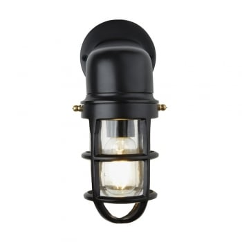 Industville Vintage Industrial Cage Bulkhead Wall Light Sconce with Glass - Black
