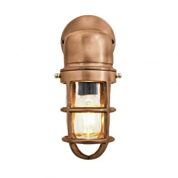 Industville Vintage Industrial Cage Bulkhead Wall Light Sconce with Glass - Copper