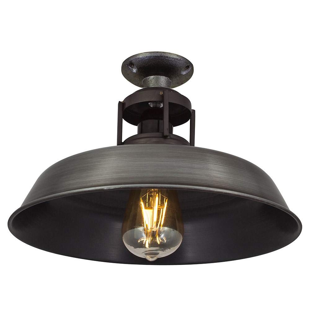 Ceiling Lights Company : Barn slotted flush mount ceiling light in pewter finish