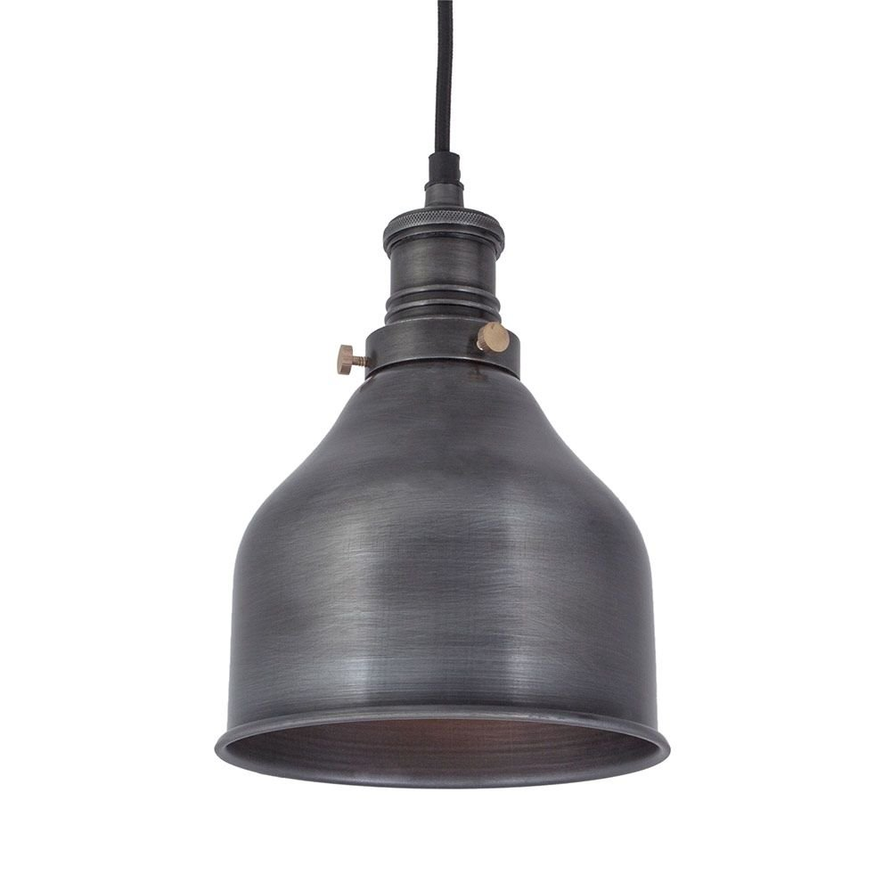 vintage industrial style small cone pendant light dark pewter 7 inch. Black Bedroom Furniture Sets. Home Design Ideas