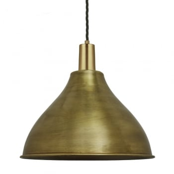 Industville Vintage Sleek Cone Pendant Light - Brass - 12 inch