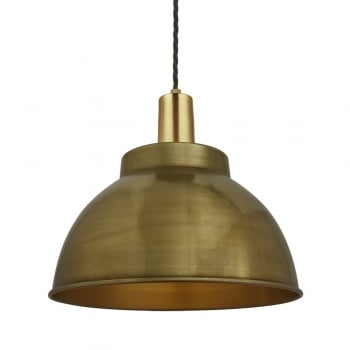 Industville Vintage Sleek Edison Pendant - Dome - Brass - 13 inch