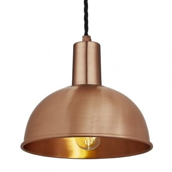 Industville Vintage Sleek Edison Pendant - Dome - Copper - 8 inch