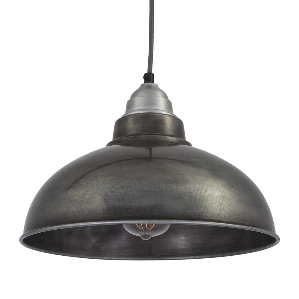 Vintage Style Pendant Light Dark Grey Pewter With 12 Inch